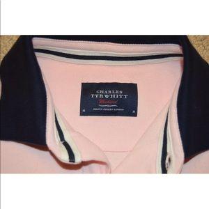 Charles Tyrwhitt Shirts - Charles Tyrwhitt Pink White Polo XL